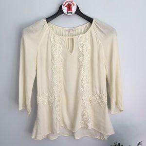 Ella Moss Ivory Silk Blouse Top